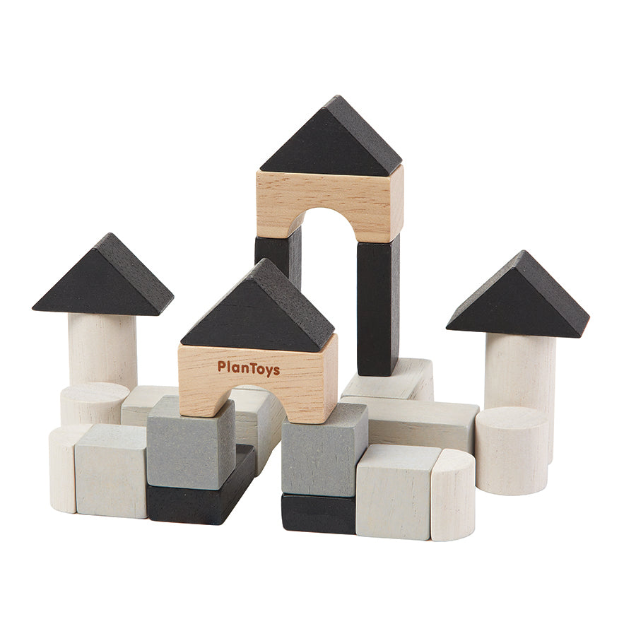 Toy . Mini Wooden Blocks - Construction Set/Monochrome