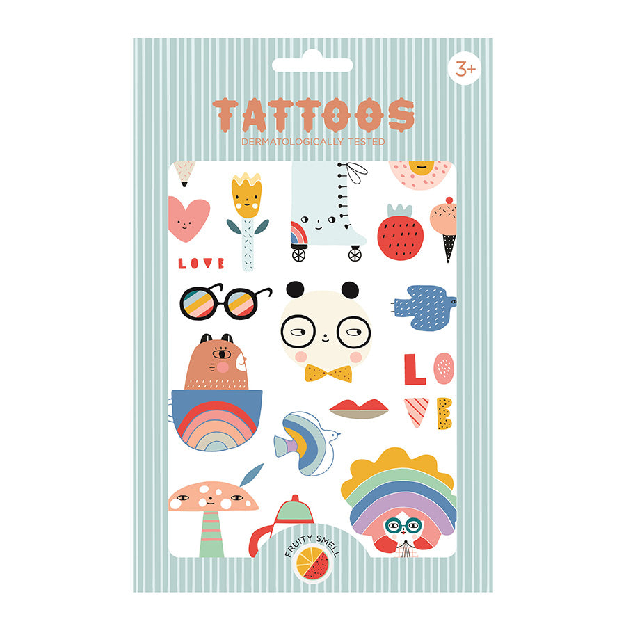Temporary Play Tattoos . 2 Sheets - Panda Love - Fruity Scent