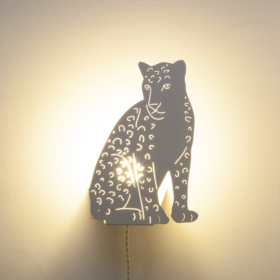 Decoupage Lamp . Wall / Table Light - Leopard / Ivory