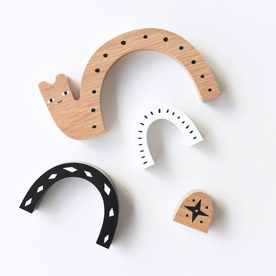Wooden Toy . Bamboo Nesting Snail