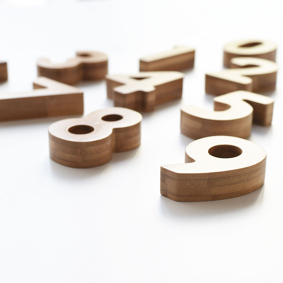 Wooden Toy / Learning . Bamboo Numbers