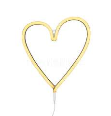 Neon Light . Heart - White / Yellow
