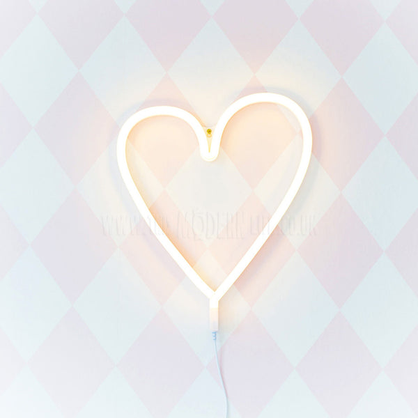 A Little Lovely Company Neon Heart Light White