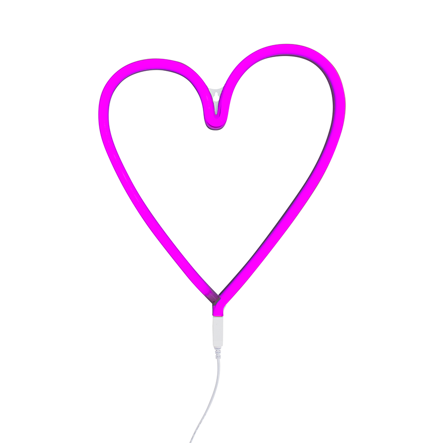 Neon Light . Heart - Pink