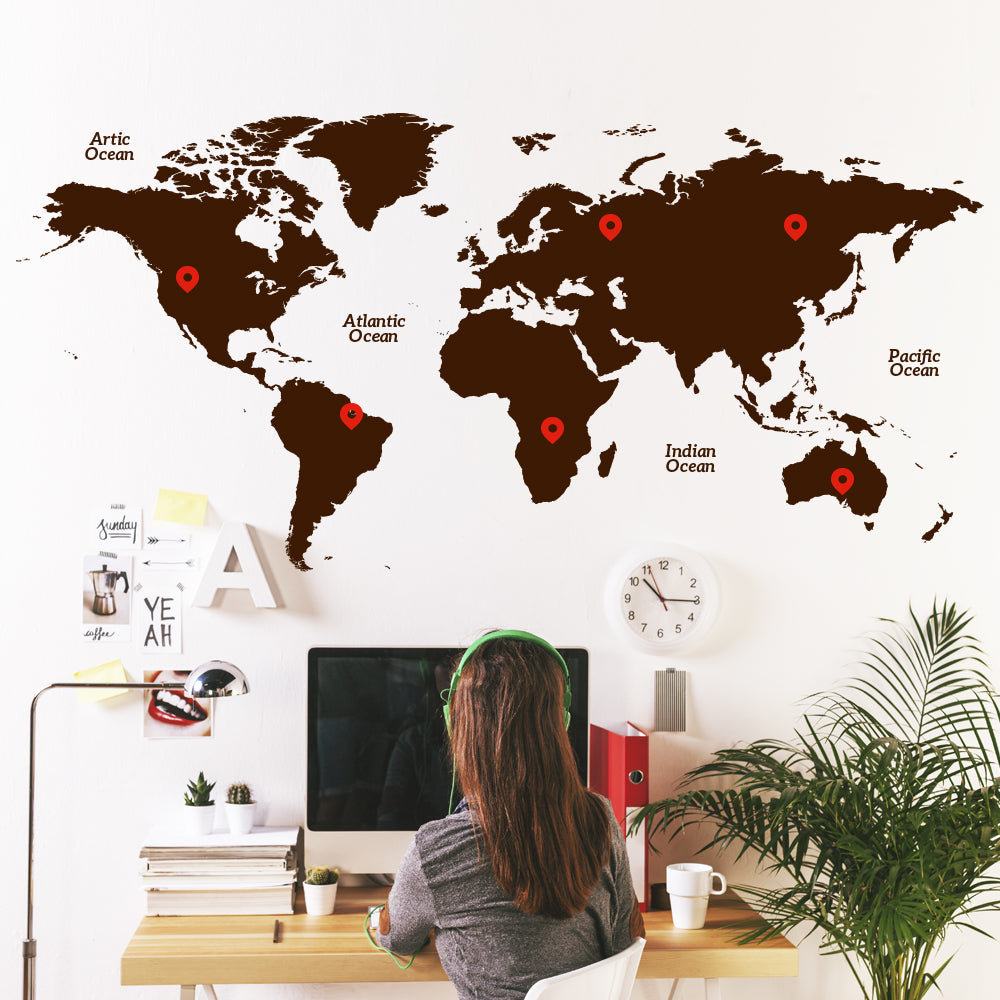 World Map & Pins Wall Decal