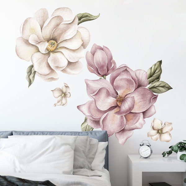 Magnolia Flowers Fabric Wall Sticker - Vintage Pink
