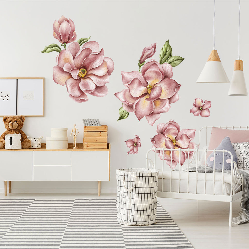 Magnolia Flowers Fabric Wall Sticker - Magenta