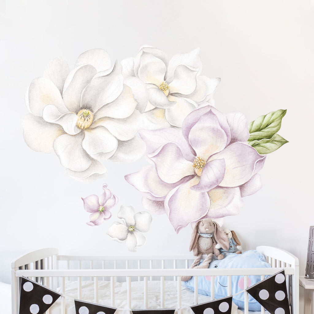 Magnolia Flowers Fabric Wall Sticker - Light Purple