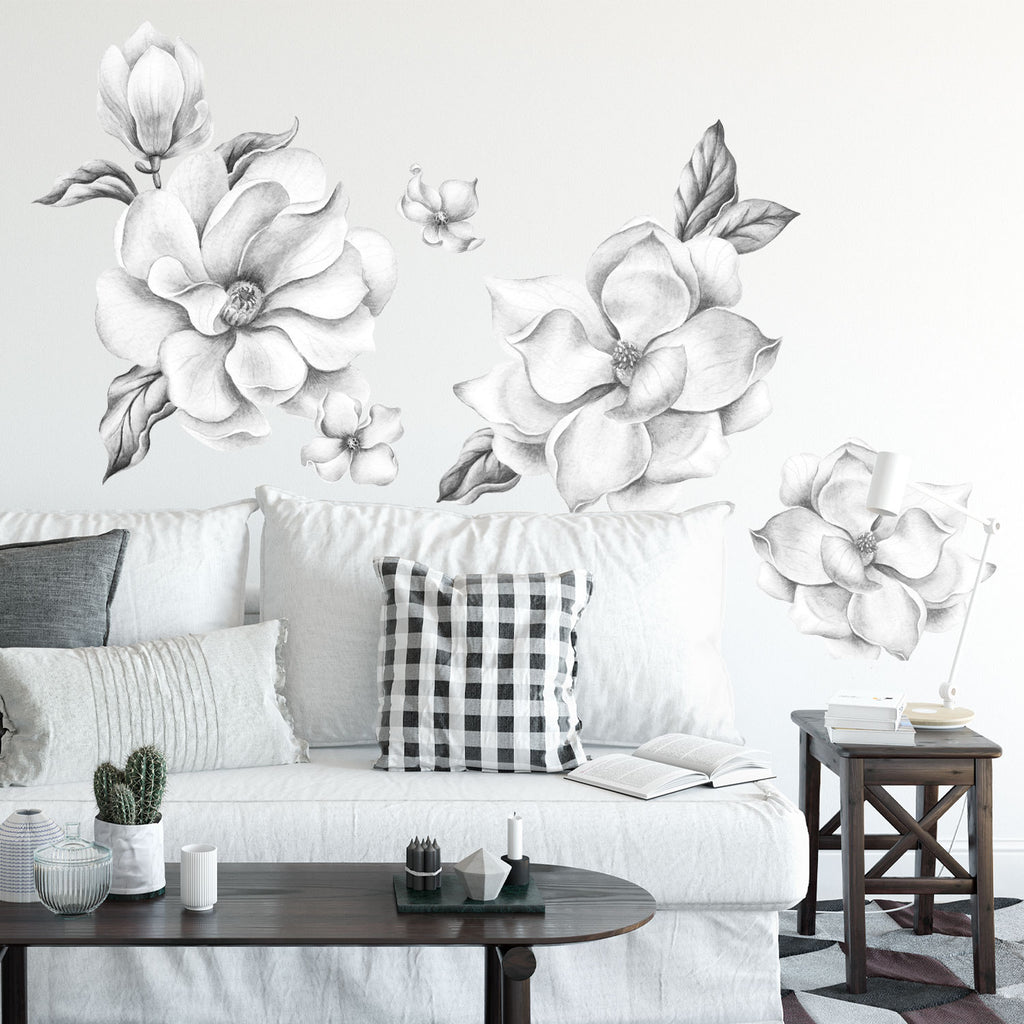 Magnolia Flowers Fabric Wall Sticker - Grayscale