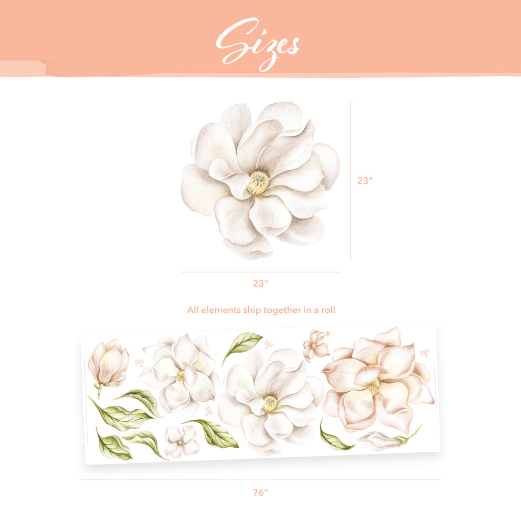 Magnolia Flowers Fabric Wall Sticker - Peach