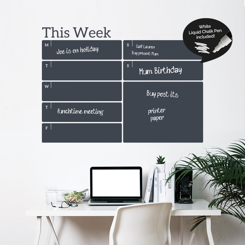 Write and Erase Weekly Calendar