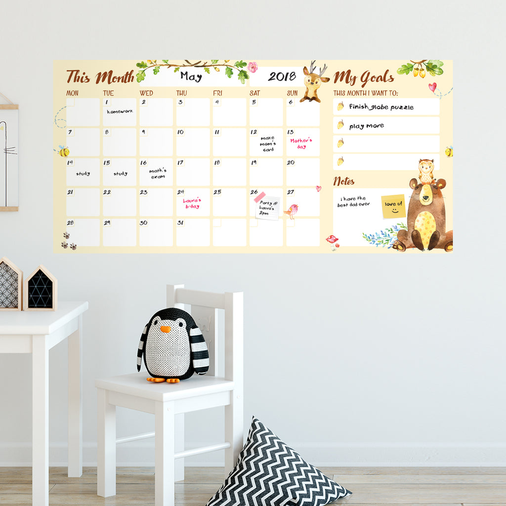Dry Wipe Wall Calendar Watercolour Animals