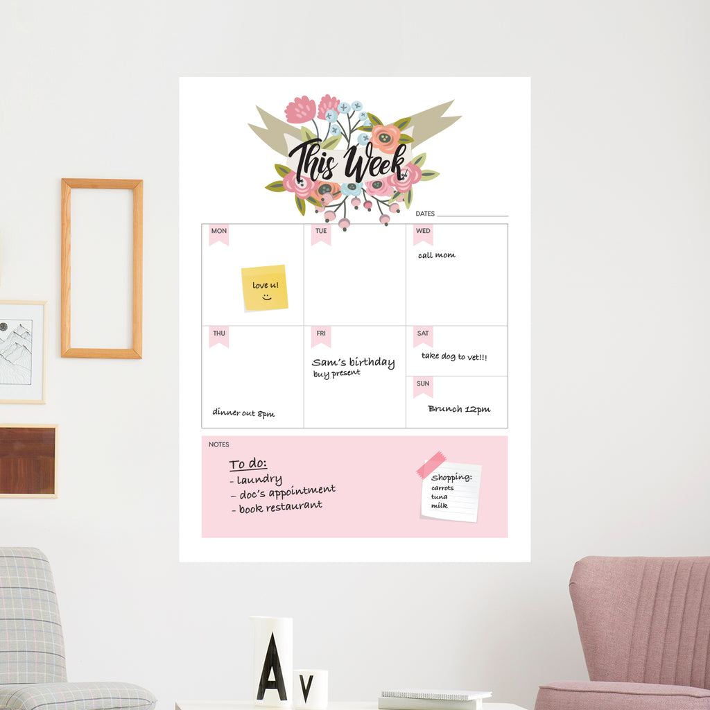 Floral Dry Wipe Weekly Planner With Notes