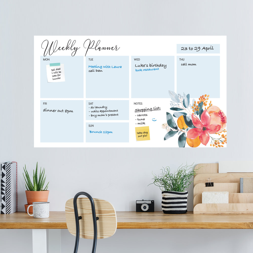 Dry Wipe Weekly Planner Flowers