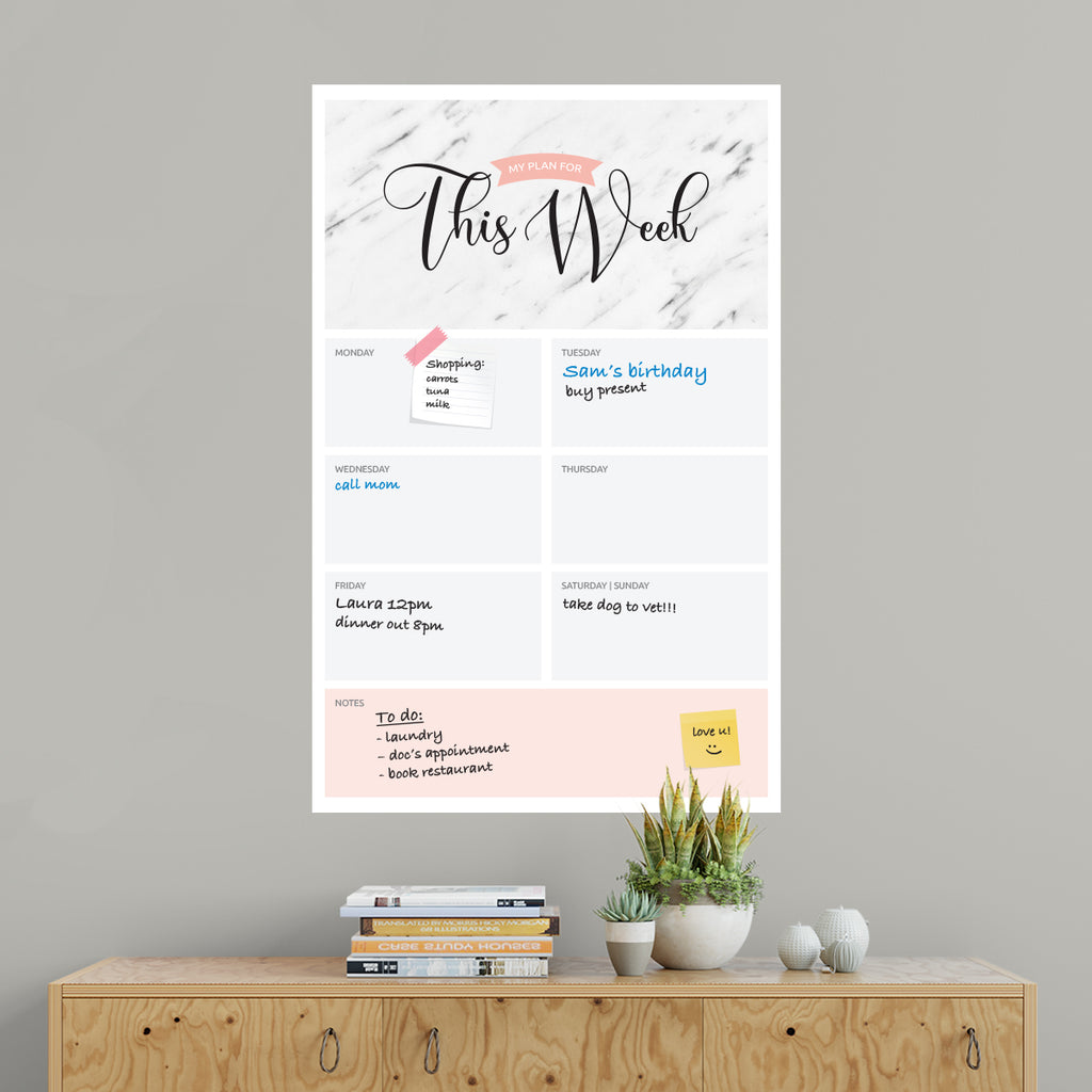 This Week Dry Erase Wall Planner Marble