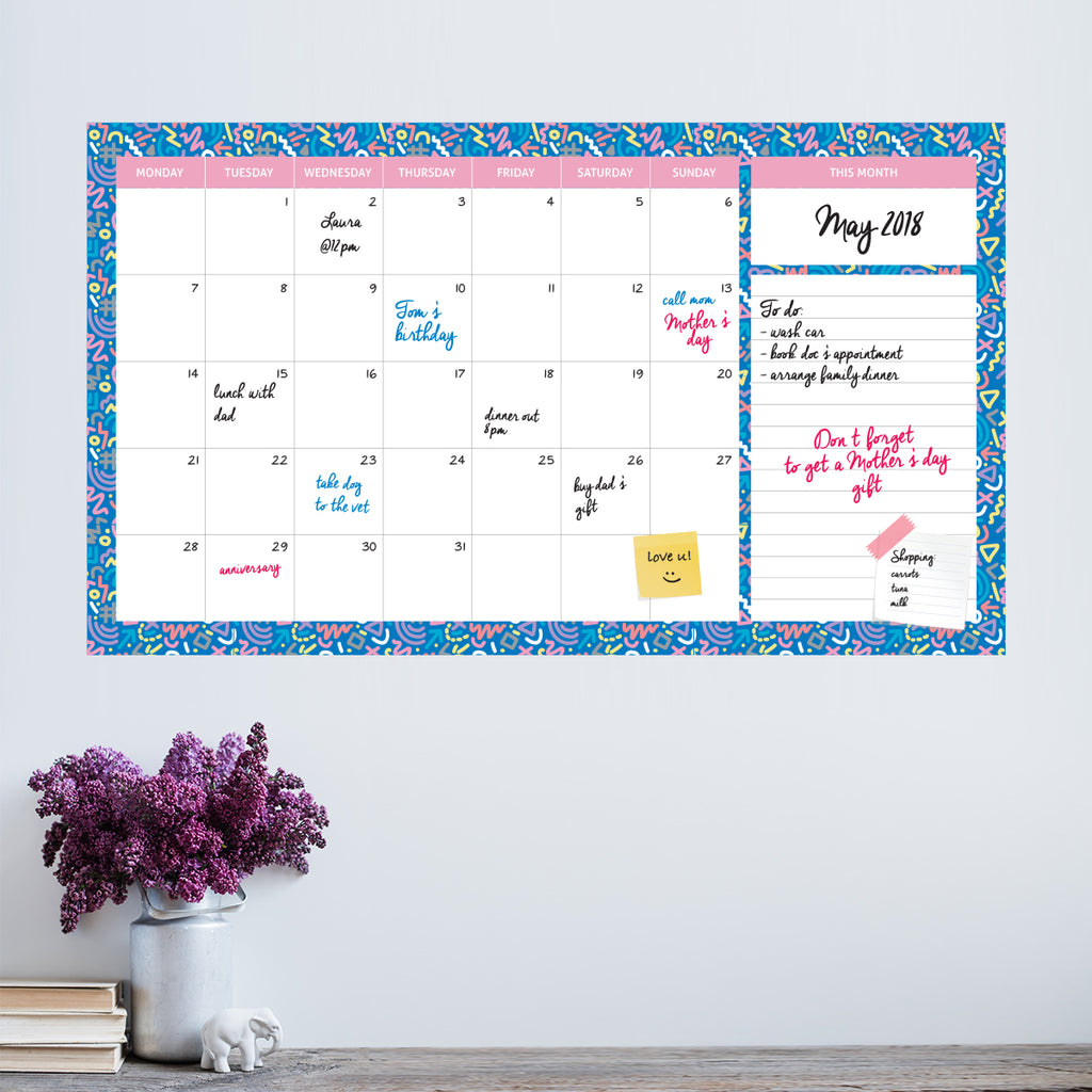 Monthly Dry Erase Calendar with Memo