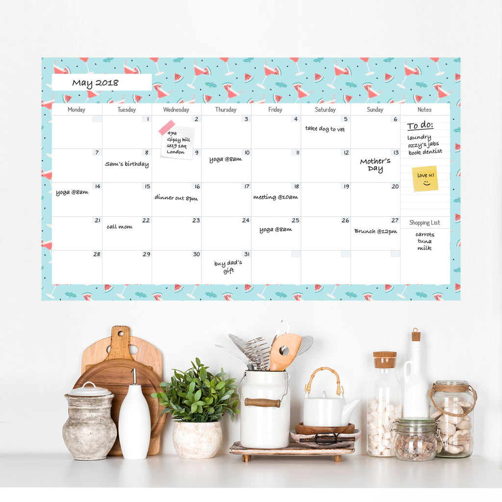 Monthly Dry Wipe Calendar with Notes Watermelon Pattern