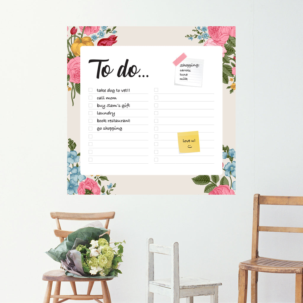 To Do Dry Erase Wall Sticker with Flowers