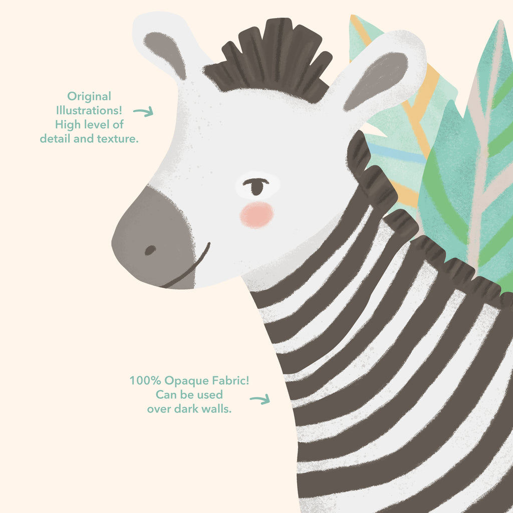 Zebra - Jungle Animals Fabric Wall Sticker