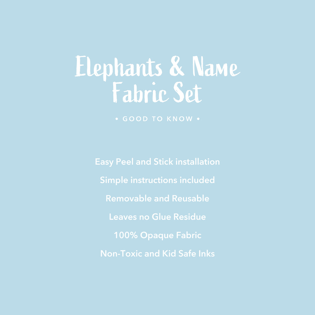 Personalised Name & Elephants Fabric Wall Sticker - Blue