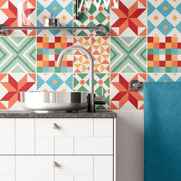 Colourful Geometric Tile Decals - Tile Stickers Set - PACK OF 24