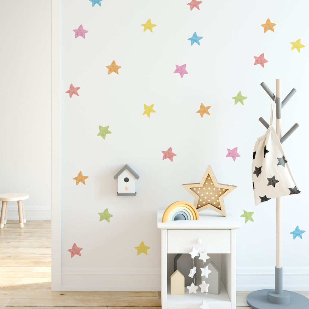 Rainbow Stars Wall Decals - Fabric Wall Stickers