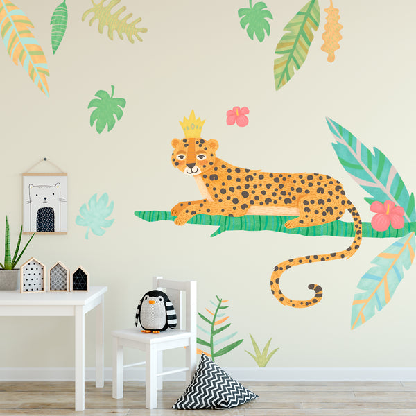 Leopard - Jungle Animals Fabric Wall Decal - Tropical Forest Wall Sticker Set