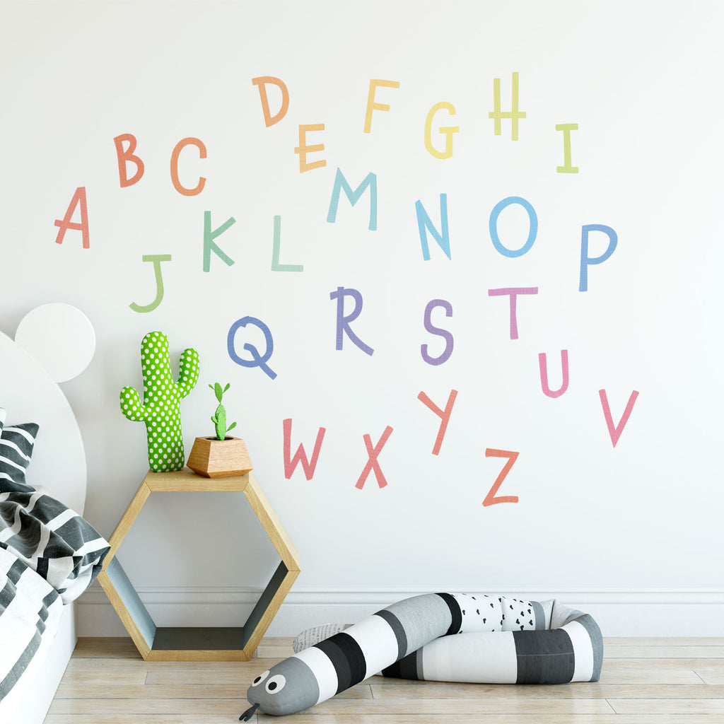 Rainbow Alphabet Fabric Wall Sticker - Uppercase - Nursery Letters Wall Decal