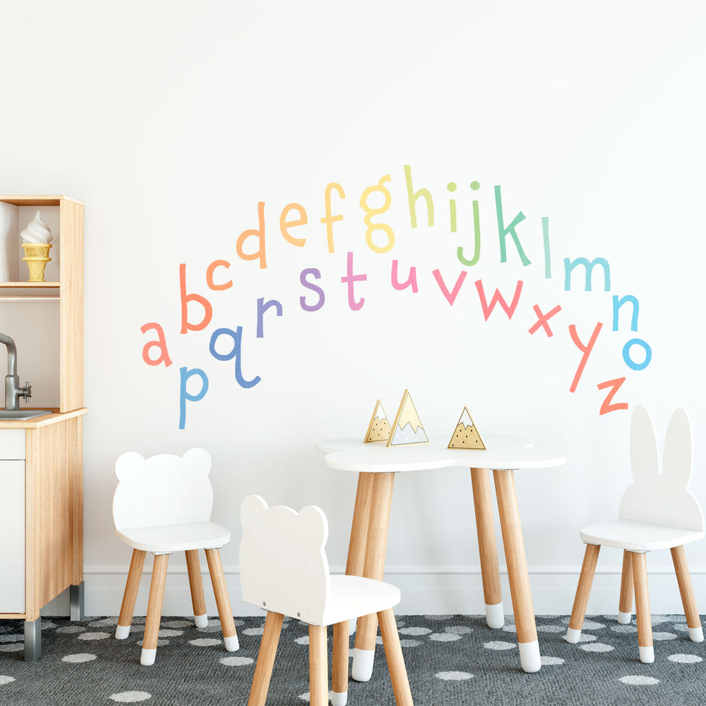 Rainbow Alphabet Fabric Wall Sticker - Lowercase - Nursery Letters Wall Decal