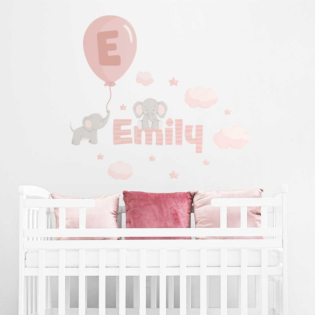 Personalised Name & Elephants Fabric Wall Sticker - Pink