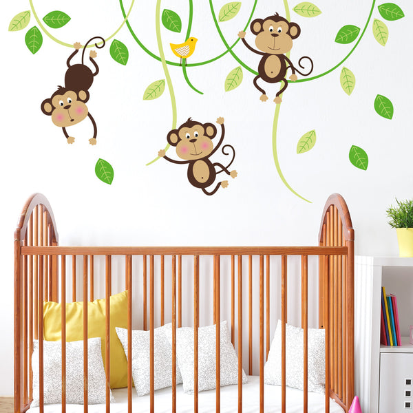 Three Monkeys On Swings Wall Sticker Decal