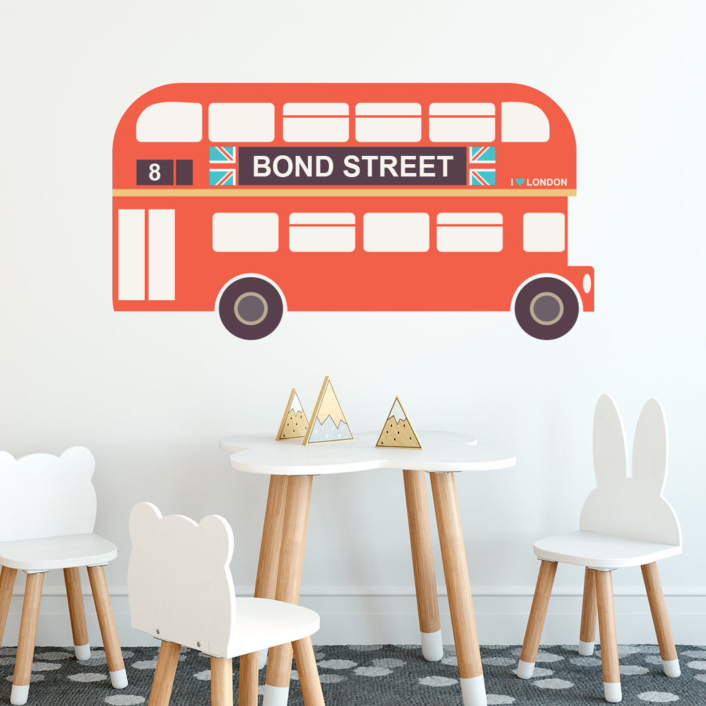 Personalised Vintage London Bus Wall Sticker