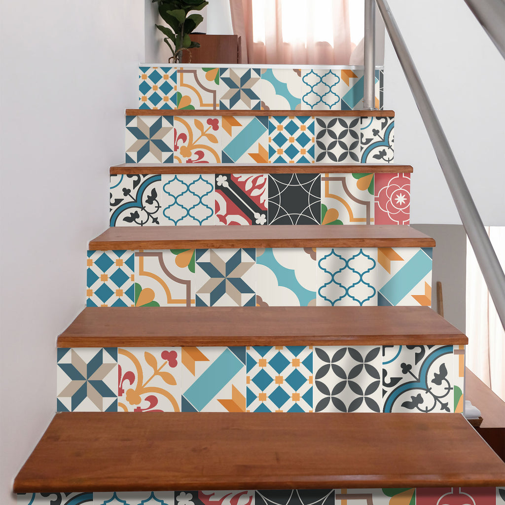 Spanish Mediterranean Stair Riser Stickers - PACK OF 6