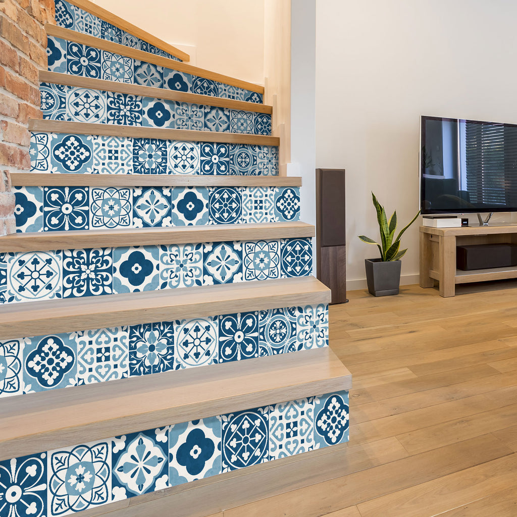 Blue Moroccan Stair Riser Stickers - PACK OF 6