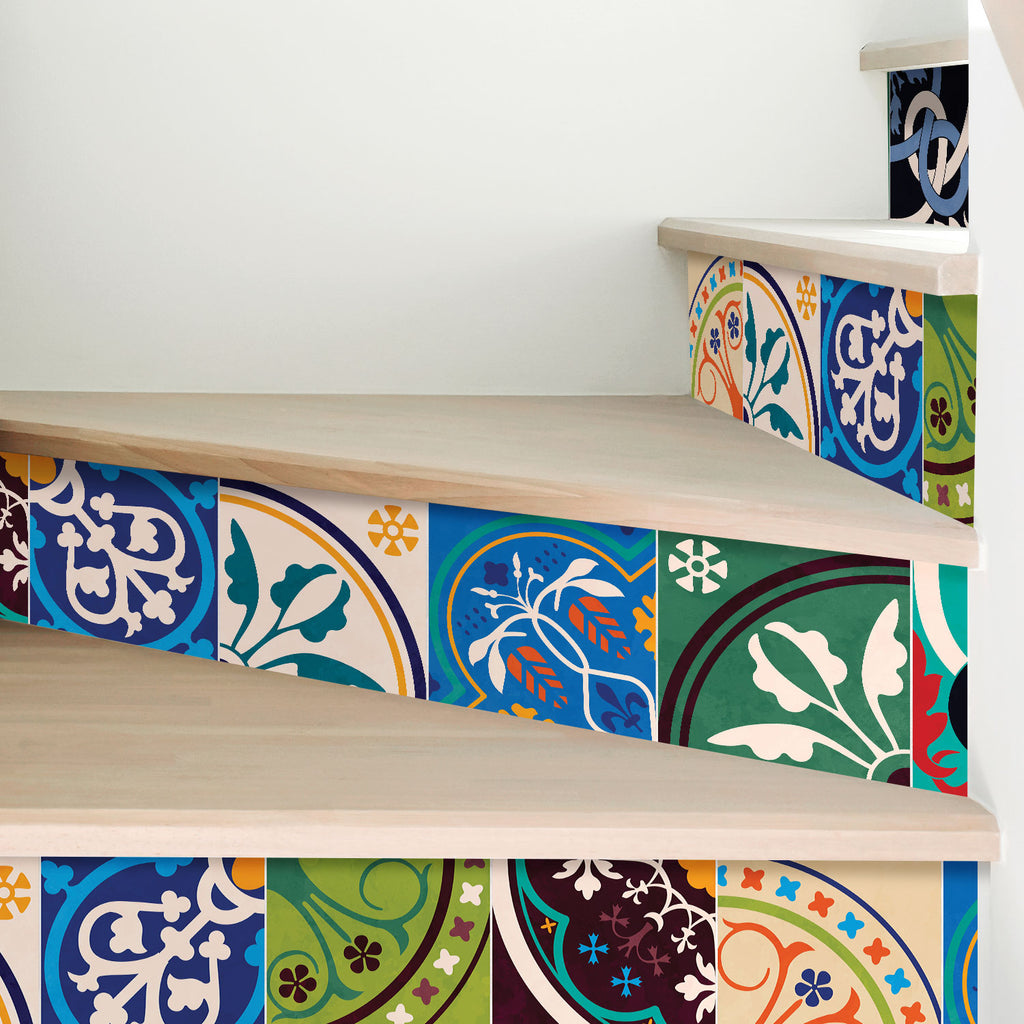 Colourful Moroccan Stair Riser Stickers - PACK OF 6