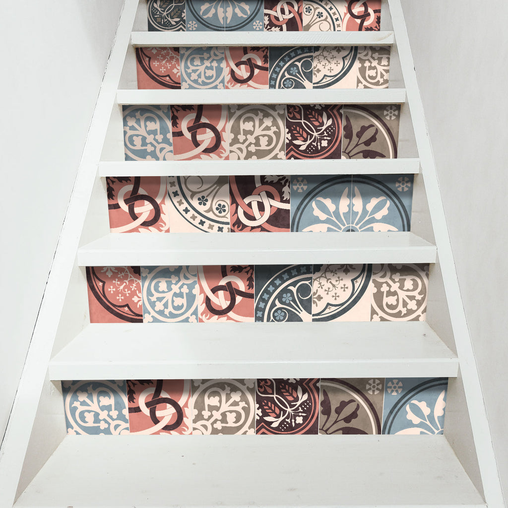 Vintage Moroccan Stair Riser Stickers - PACK OF 6
