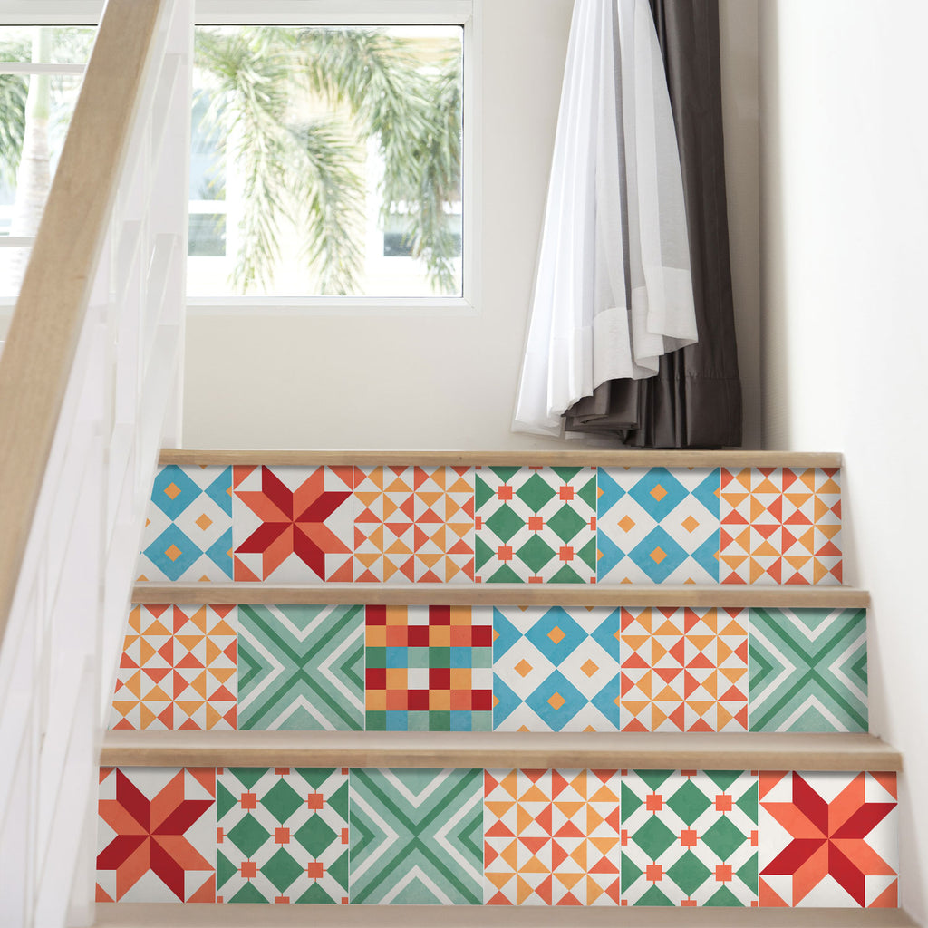 Colourful Geometric Stair Riser Stickers - PACK OF 6