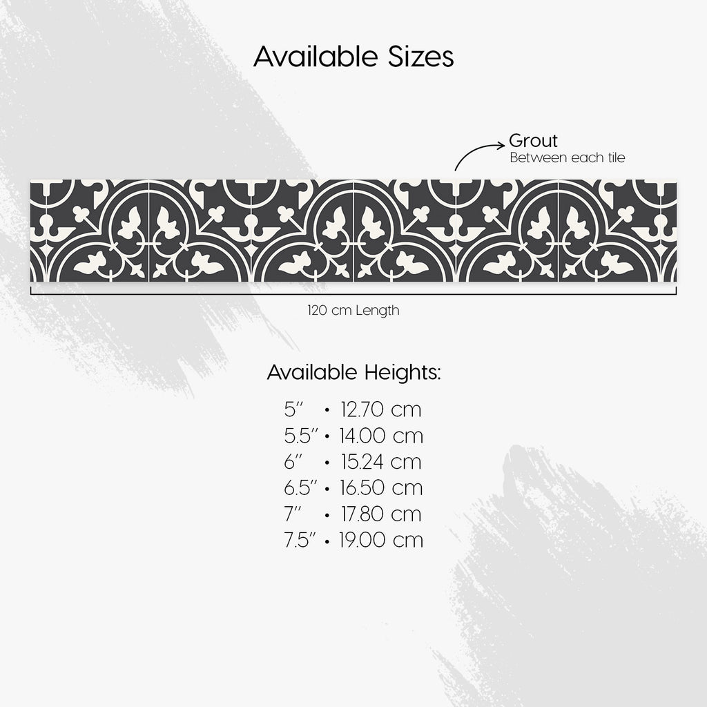 Moroccan Dark Grey Stair Riser Stickers - PACK OF 6