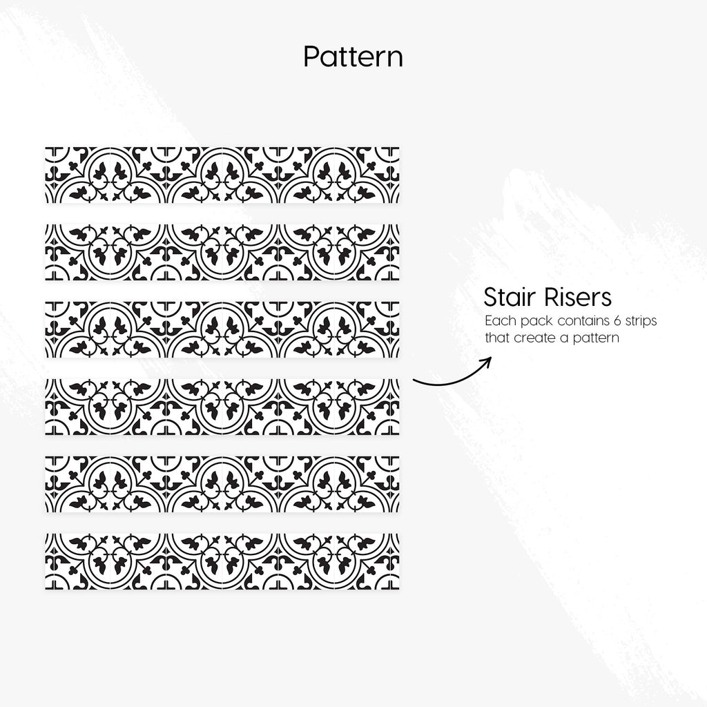 Moroccan Monochrome Stair Riser Stickers - PACK OF 6