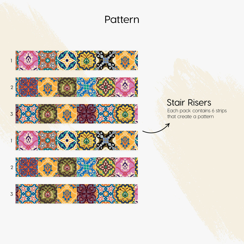 Arabic Stair Riser Stickers - PACK OF 6