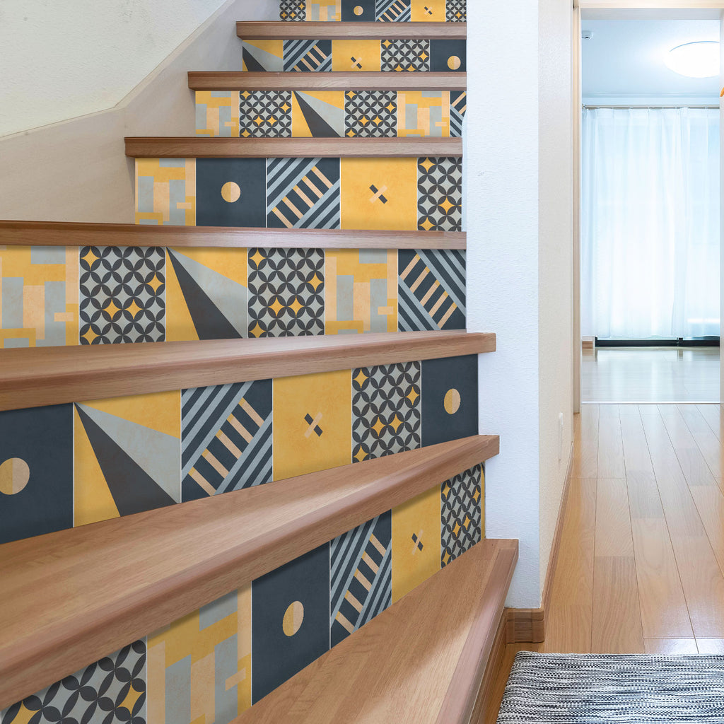 Modern Geometric Stair Riser Stickers - PACK OF 6