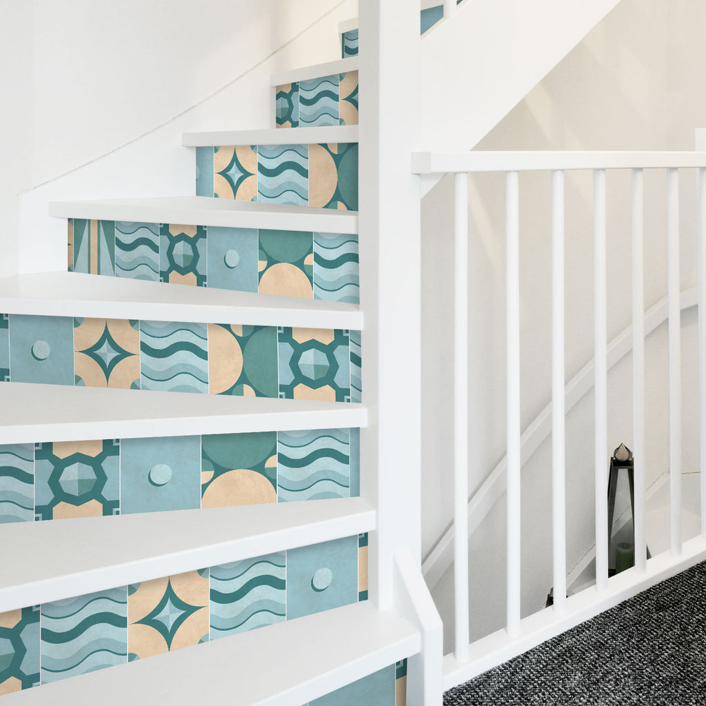 Geometric Turquoise Stair Riser Stickers - PACK OF 6