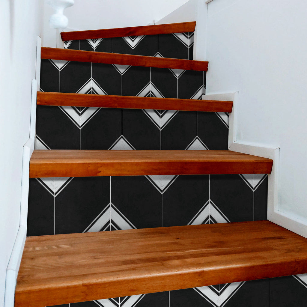 Valencia Black Stair Riser Stickers - PACK OF 6