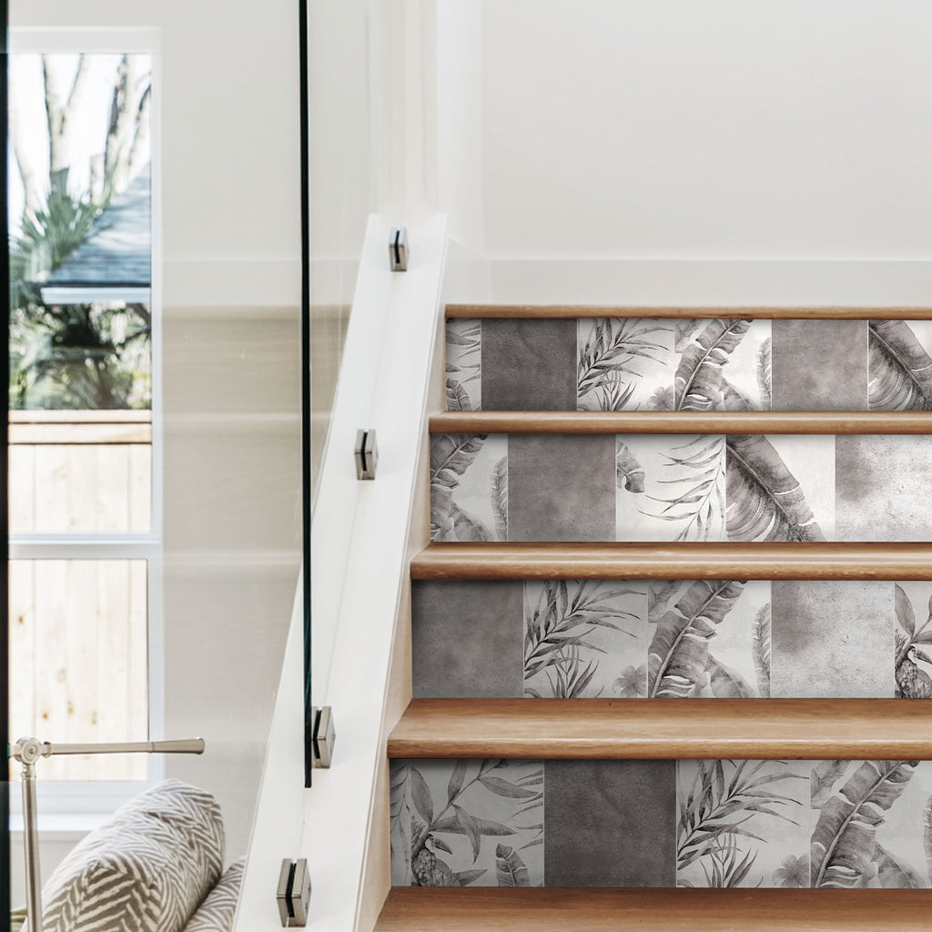 Tropical Grey Stair Riser Stickers - PACK OF 6