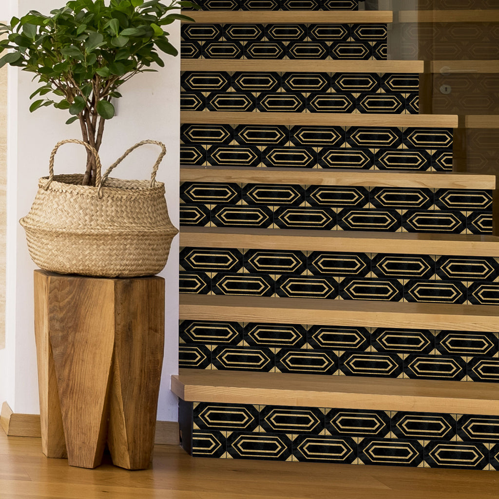 Black Art Deco Stair Riser Stickers - PACK OF 6
