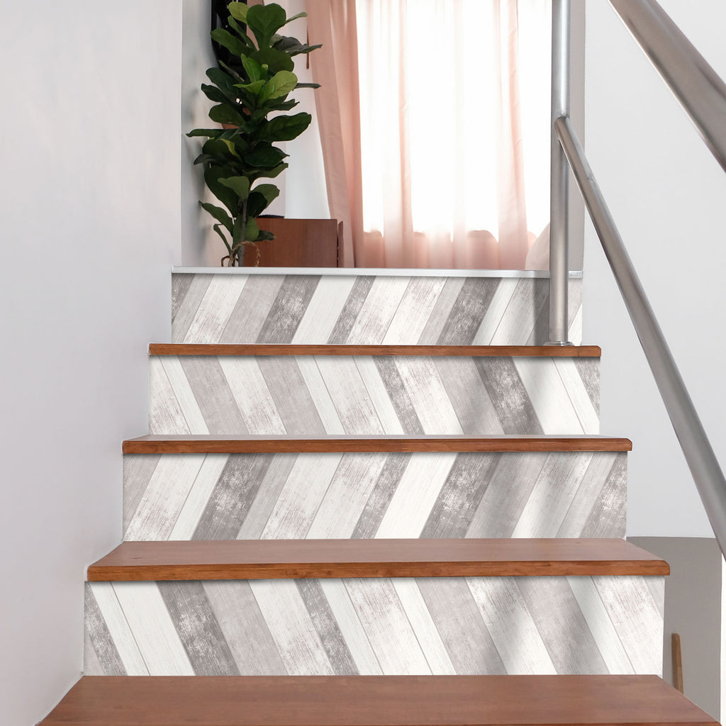 Grey Washed Wood Stair Riser Stickers - PACK OF 6