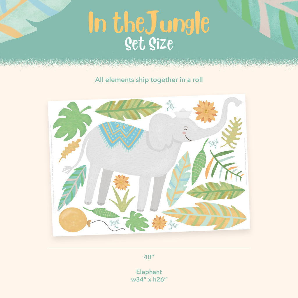 Elephant - Jungle Animals Fabric Wall Sticker