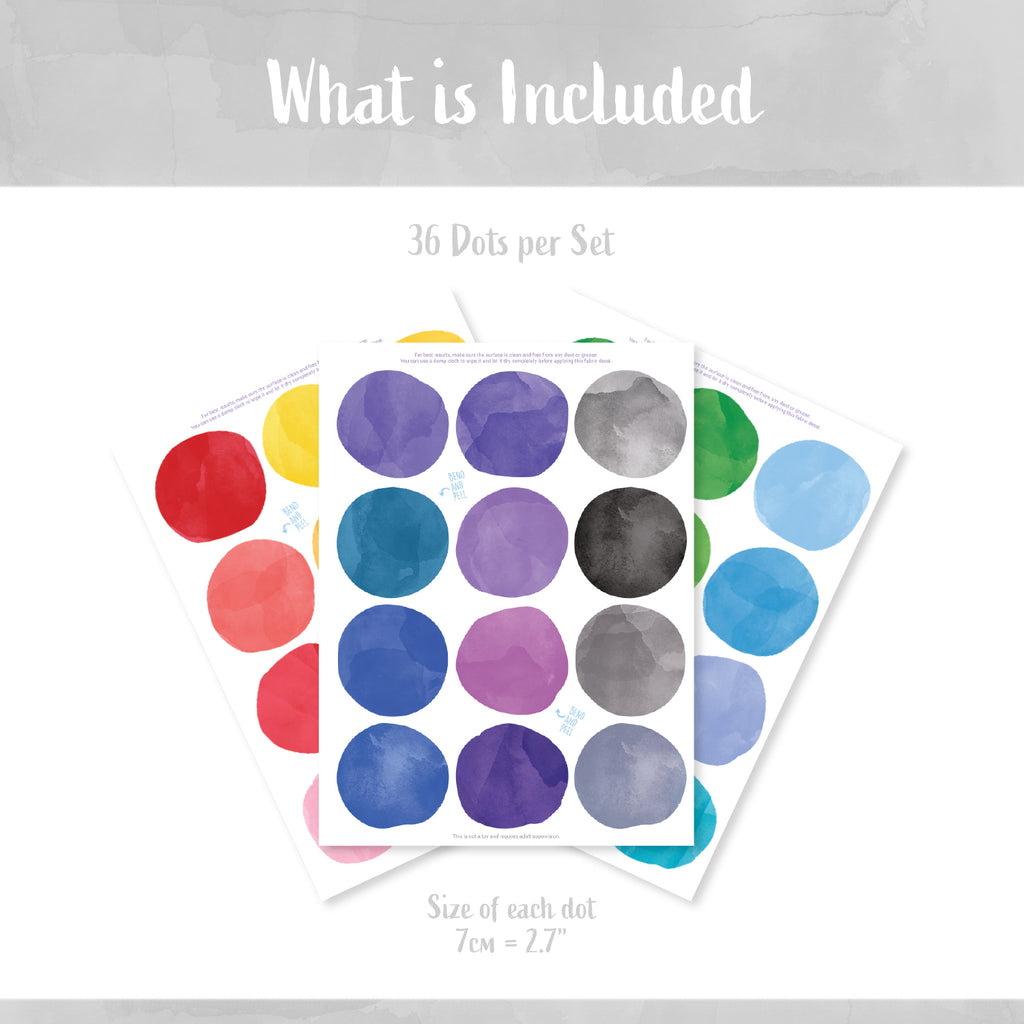 Rainbow Watercolour Dots Set - Polka Dots Fabric Stickers