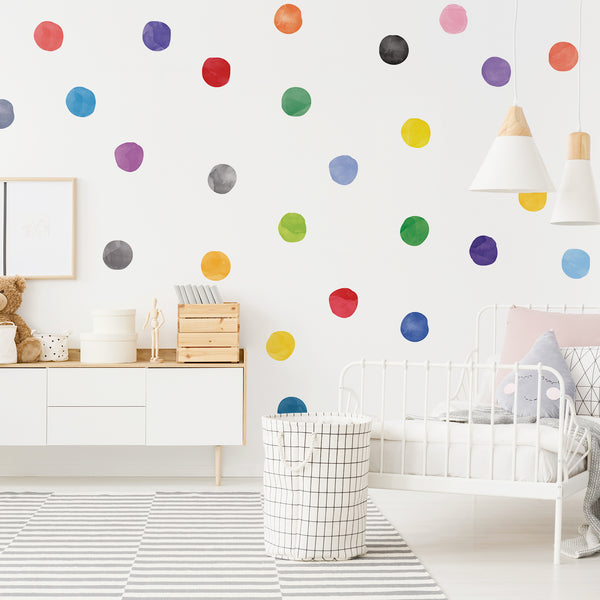 Rainbow Watercolour Dots Set - Polka Dots Fabric Wall Decal