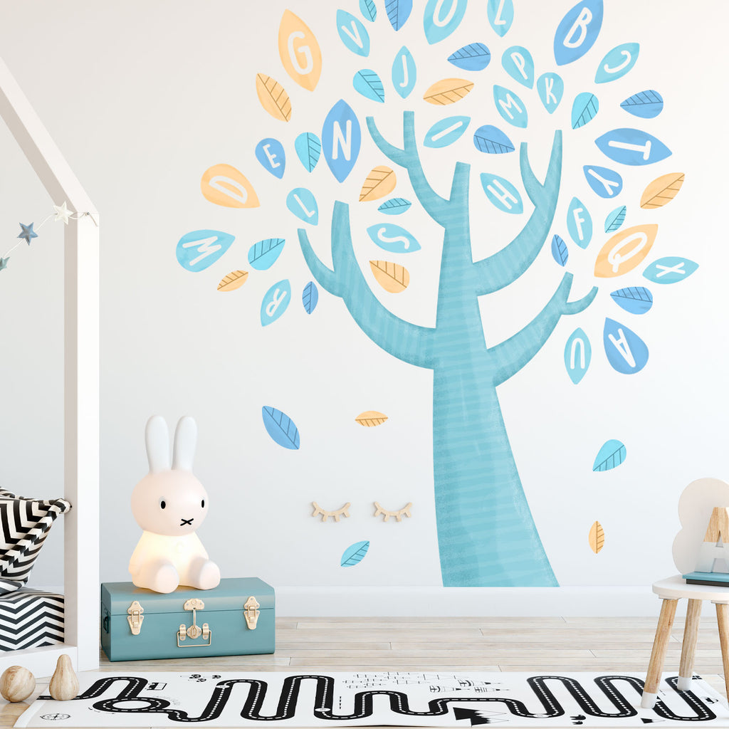Alphabet Tree Fabric Wall Sticker Set - Blue
